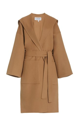 Belted Wool-Cashmere Hooded Coat