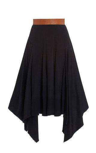 Leather-Trimmed Crepe Midi Skirt