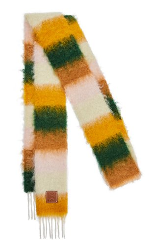 Narrow Striped Wool-Mohair Scarf