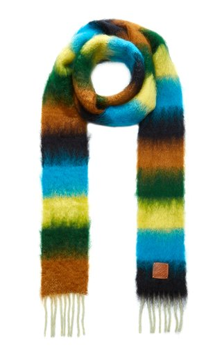 Narrow Striped Wool-Mohair Scarf