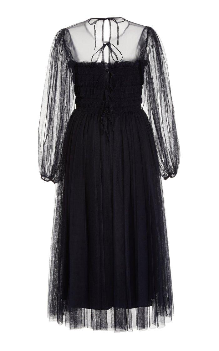 Amelie Smocked Tulle Midi Dress