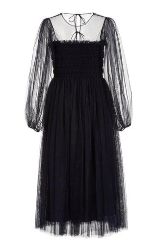 Amelie Hand-Smocked Tulle Midi Dress