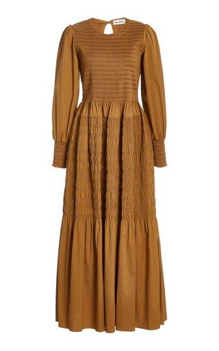 Michaela Shirred Cotton-Blend Maxi Dress