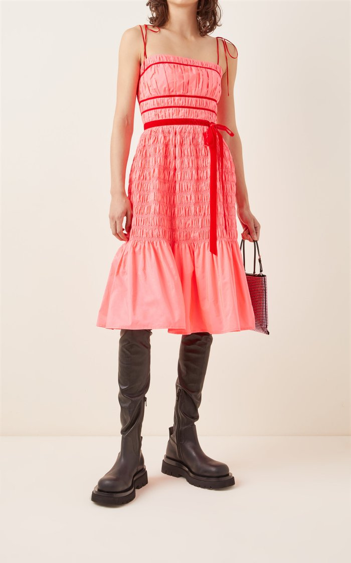 Joyce Shirred Taffeta Midi Dress