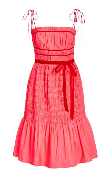 Joyce Smocked Taffeta Midi Dress