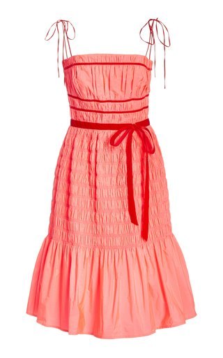 Joyce Smocked Taffeta Midi Dress