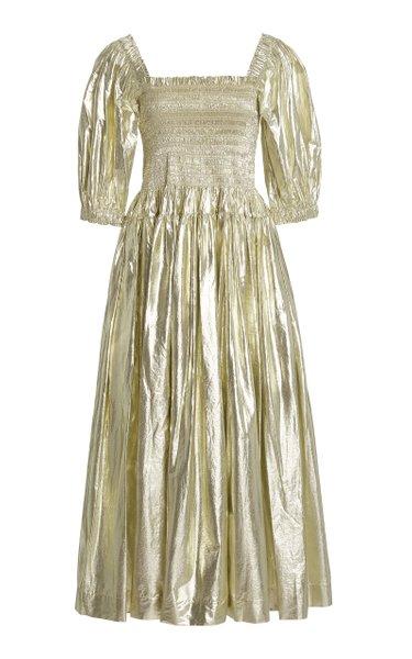 Camilla Shirred Metallic Cotton Midi Dress