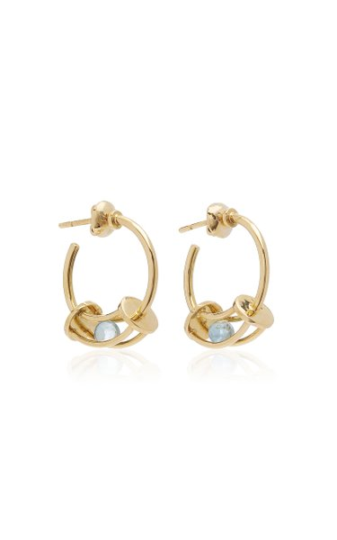 Perpetual Motion Aquamarine 18K Yellow Gold Hoop Earrings