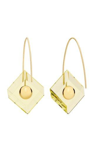 Deco Reversible Quartz 18K Yellow Gold Earrings