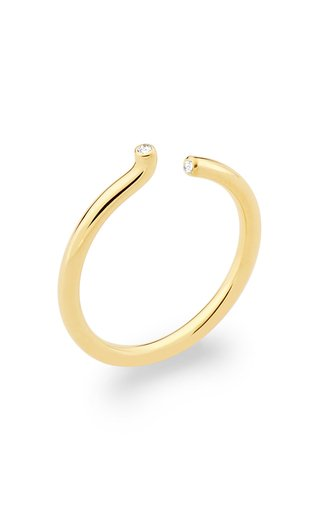 Rock Asymmetric Diamond 18K Yellow Gold Ring