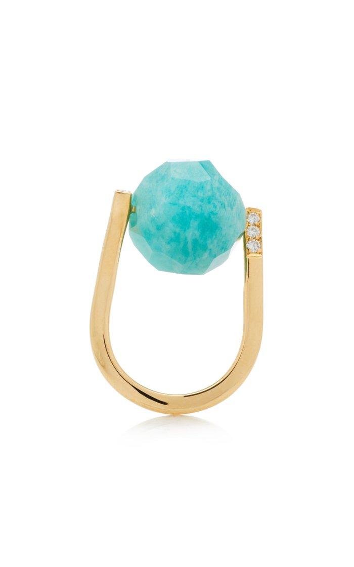 Rock Large Twist Amazonite, Diamond 18K Yellow Gold Ring
