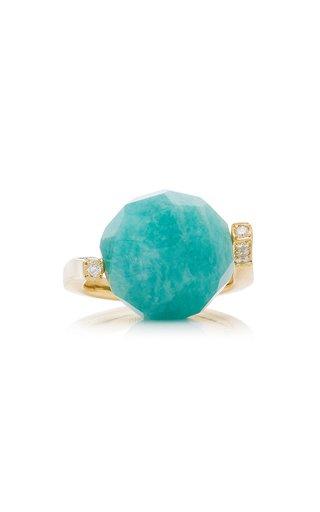 Rock Large Twist Amazonite, Diamond 18K Yellow Gold Ring
