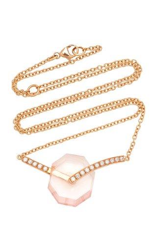 Deco Quartz, Diamond 18K Rose Gold Necklace