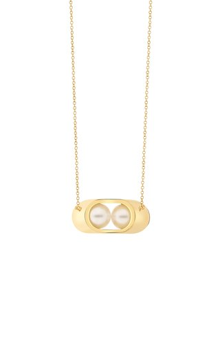 Ellipse Small Cocoon Pearl 18K Yellow Gold Necklace