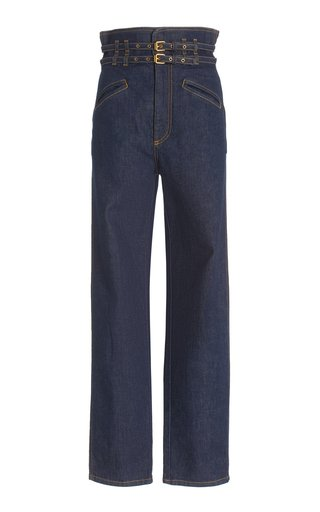 Belted High-Rise Tapered Jeans