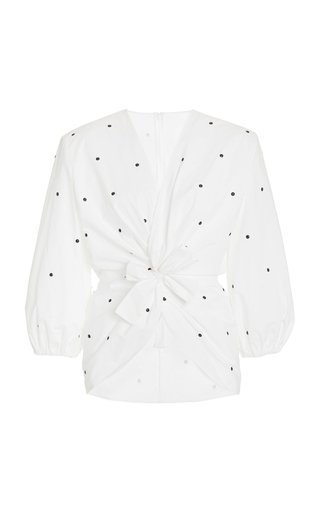 Embellished Cotton-Poplin Blouse