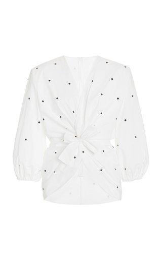 Embellished Cotton-Poplin Blouse