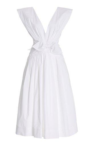 V-Neck Poplin Midi Dress