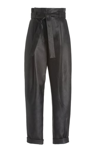 Eco-Leather Belted Trousers