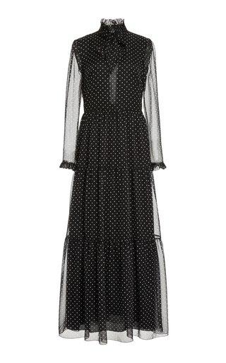 Polka-Dot Printed Chiffon Gown