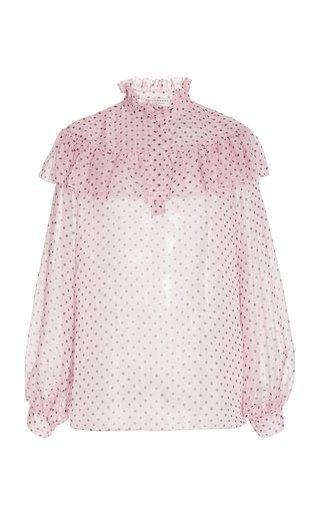Polka-Dot Printed Chiffon Blouse