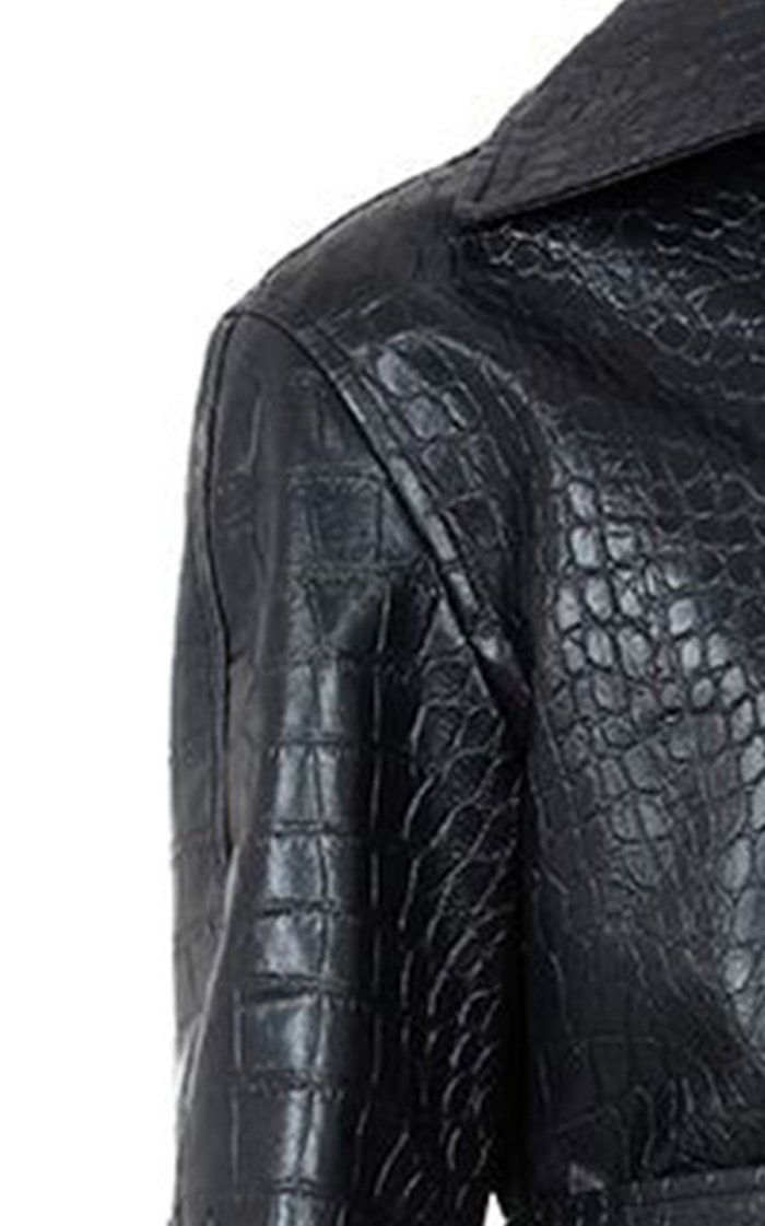 Faux Crocodile Leather Trench Coat