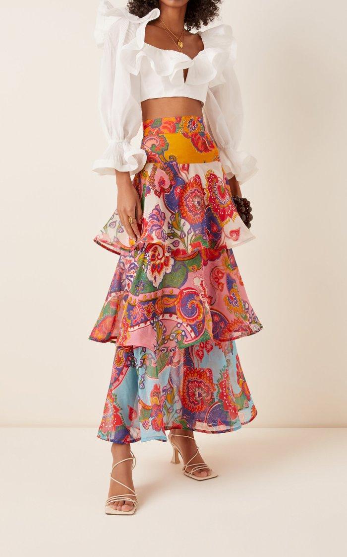 The Lovestruck Belted Cotton-Blend Maxi Skirt