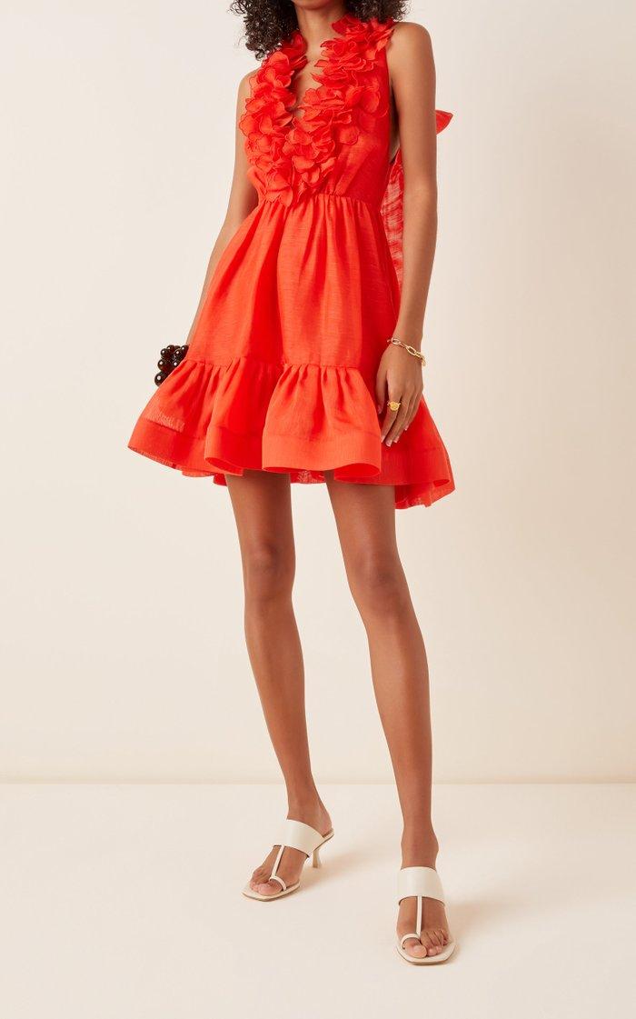 The Lovestruck Garland Silk-Blend Mini Dress