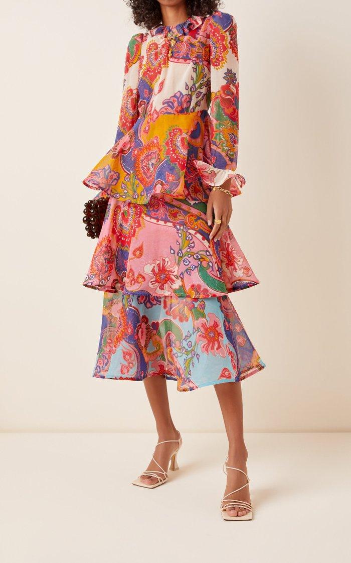 The Lovestruck Flounce Cotton-Silk Midi Dress