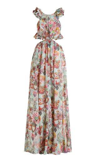 The Lovestruck Ruffle Sleeveless Cutout Maxi Dress