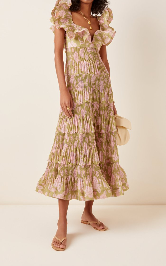 The Lovestruck Pleated Ruffle Maxi Gown