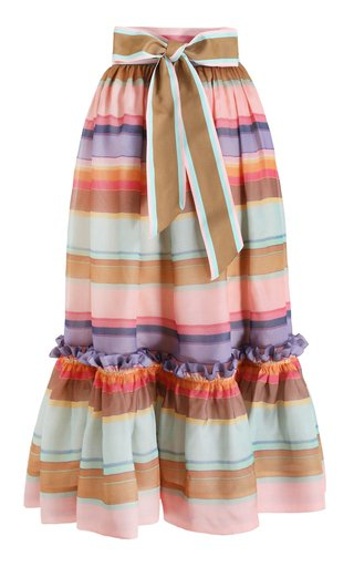 The Lovestruck Rainbow Silk Stripe Skirt
