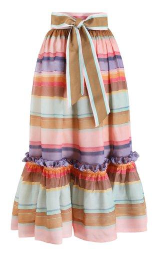 The Lovestruck Rainbow Silk Stripe Skirt