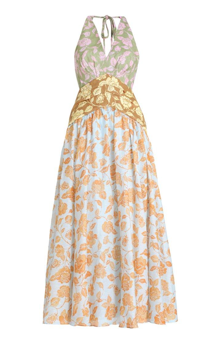 The Lovestruck Tri-Printed Linen Midi Dress