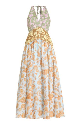 The Lovestruck Tri-Printed Linen Midi Dress