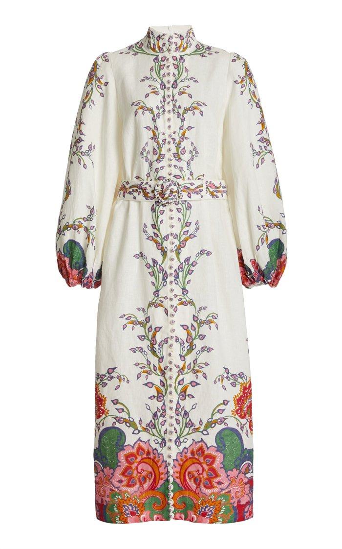 The Lovestruck Buttoned Linen Midi Dress