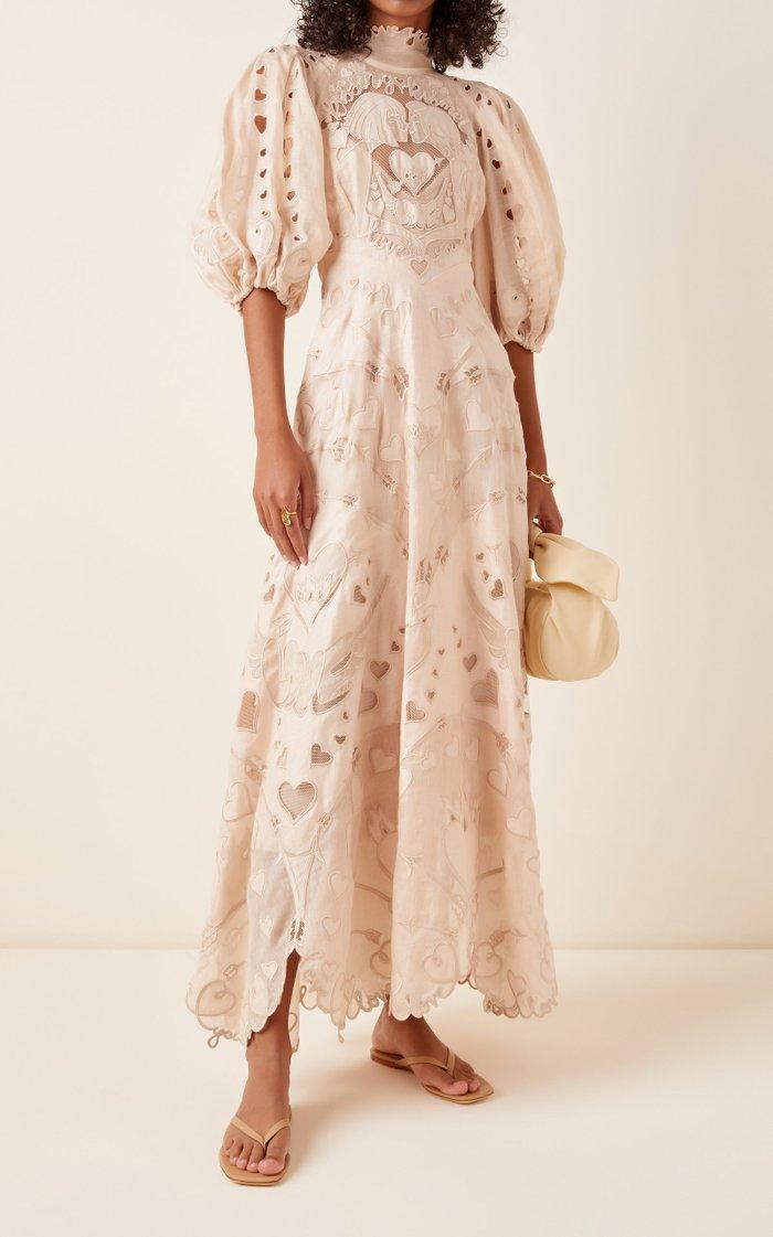 The Lovestruck Silk-Linen Lace Gown