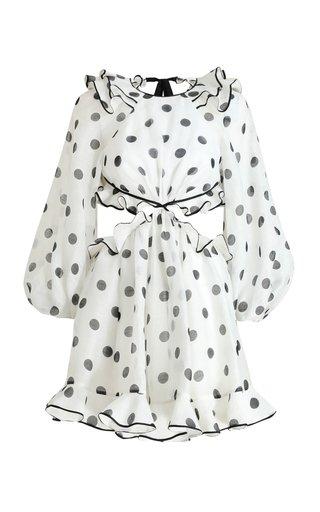 The Lovestruck Frilled Silk-Linen Mini Dress