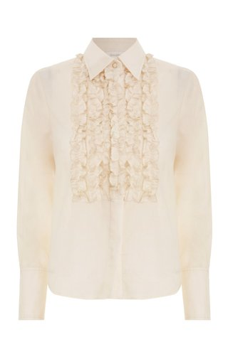Cotton Ruffled Tuxedo Shirt