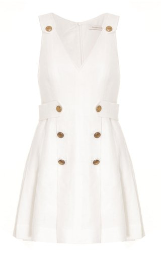 The Lovestruck Buttoned Linen Mini Dress