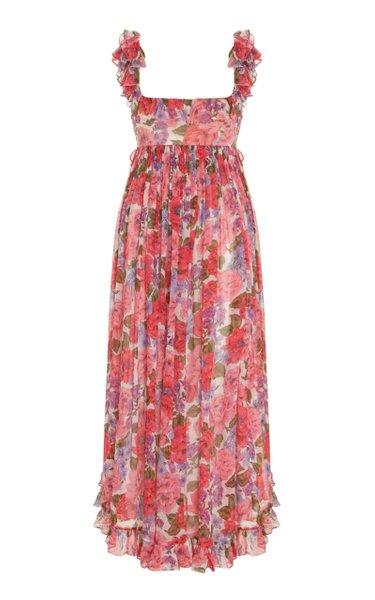 Poppy Frill-Trimmed Silk Midi Dress