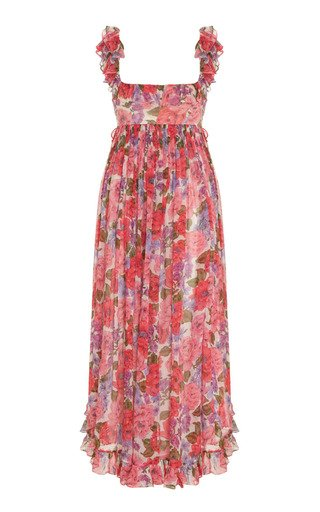 Poppy Frill-Trimmed Silk Midi Dress