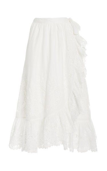Lulu Lace-Trimmed Cotton Wrap Skirt