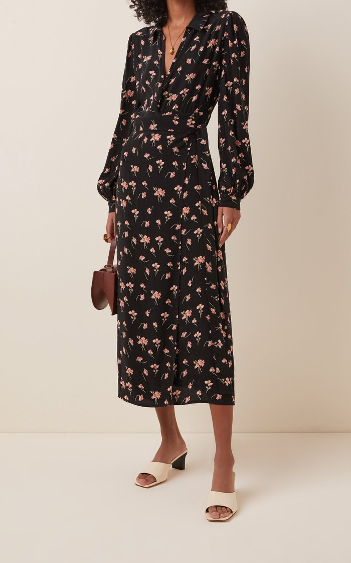 Floral-Printed Crepe de Chine Wrap Dress
