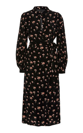 Floral-Printed Crepe de Chine Wrap Dress