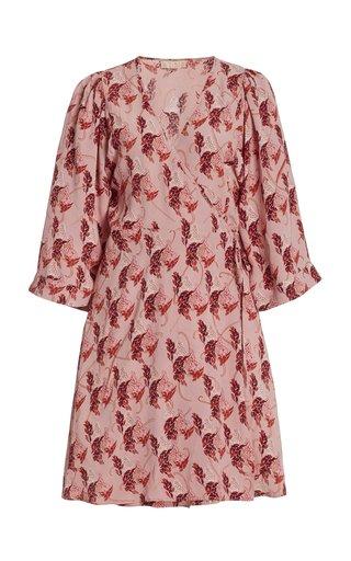 Printed Crepe Mini Wrap Dress