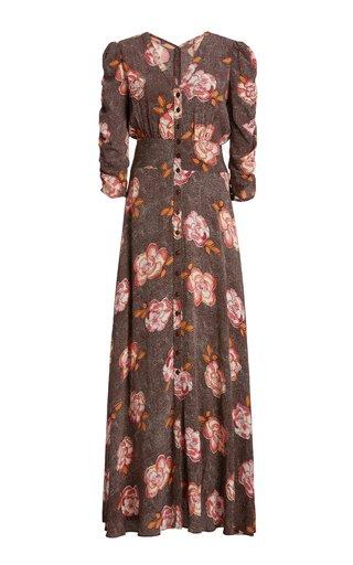 Spring Printed Crepe Maxi Dress