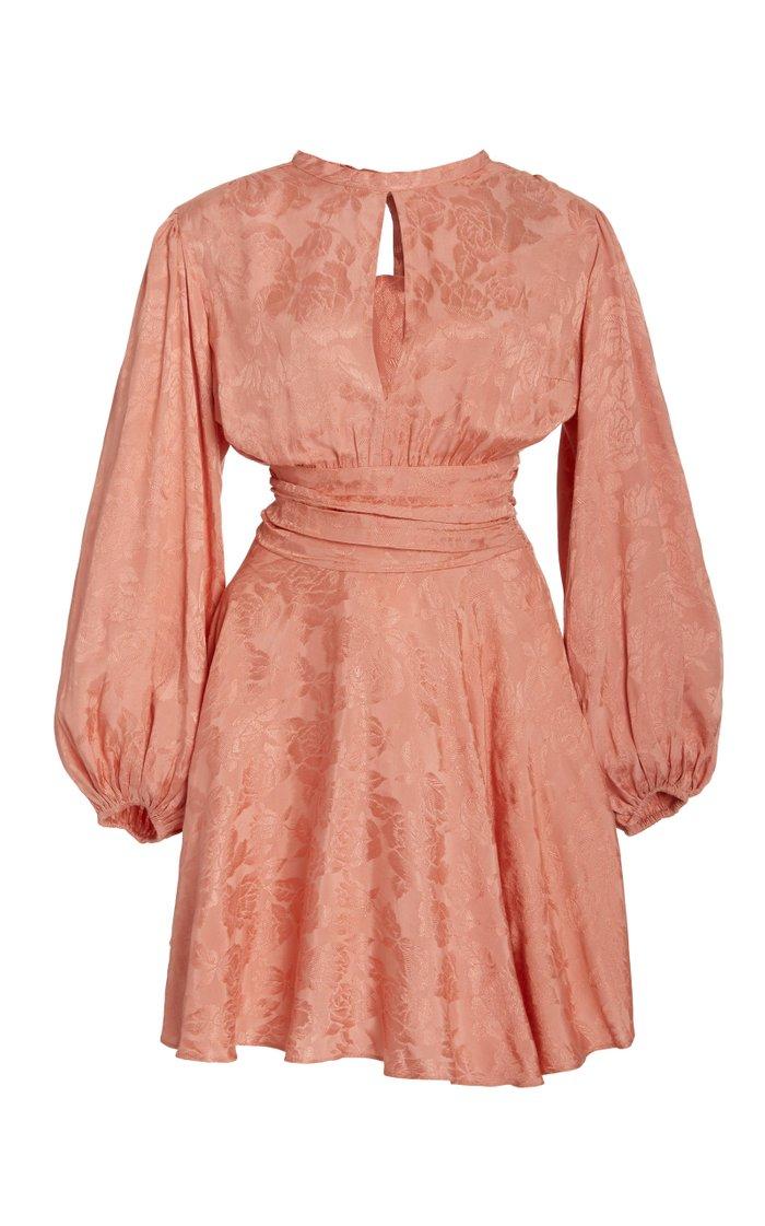 Floral-Jacquard Mini Dress