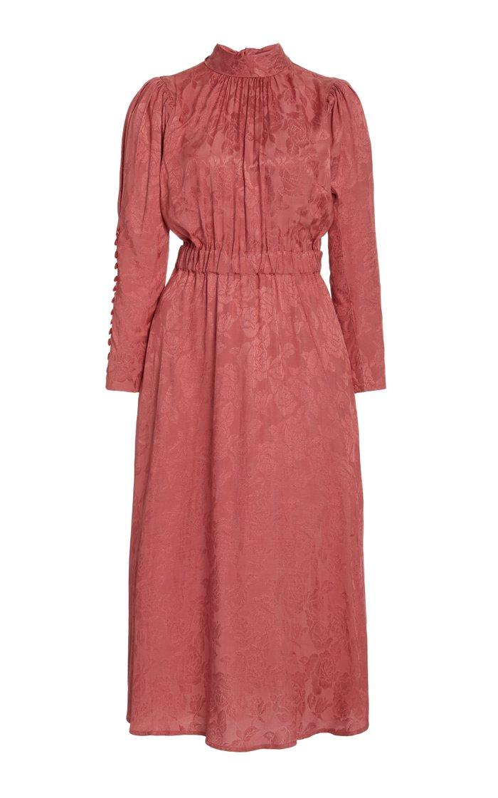 Floral-Jacquard Midi Dress