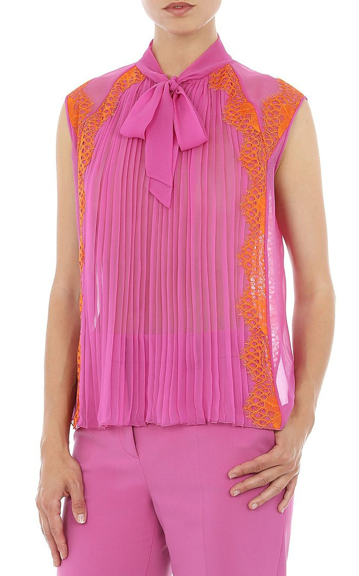 Lace-Trimmed Pleated Silk Chiffon Tie-Neck Top